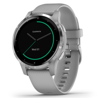Garmin 010-02172-01 Vivoactive 4s Gps Smartwatch (silver Stainless Steel Bezel With Powder Gray Case And Silicone Band)