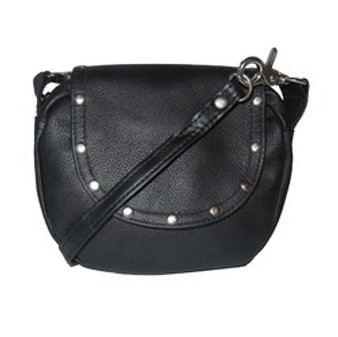 Black Soft Leather Clip On Motorcycle Bag