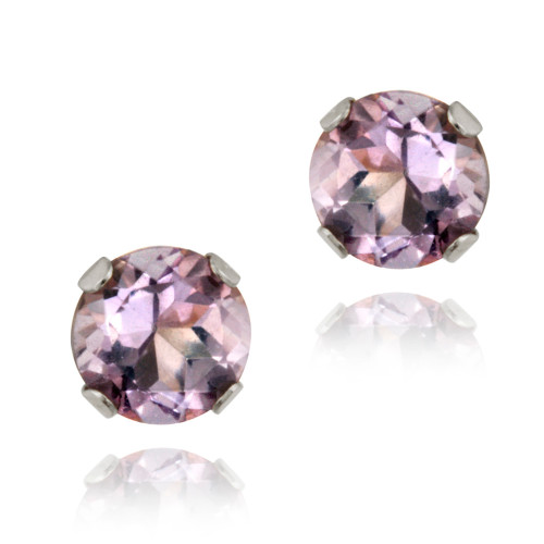 14k White Gold 1/2ct Amethyst Stud Earrings, 4mm