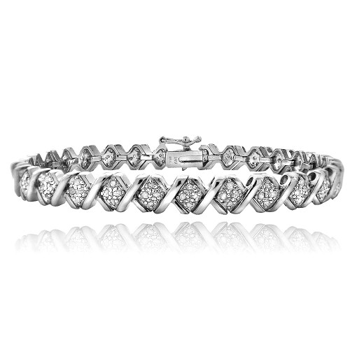 1 Ct Tdw Diamond Silvertone X Tennis Bracelet