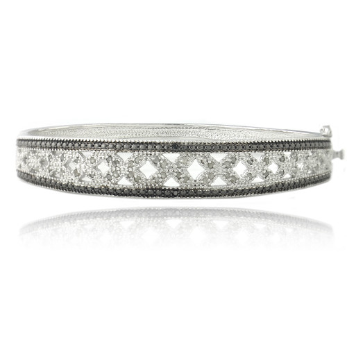 1/2ct Black & White Diamond Flower Bangle Bracelet