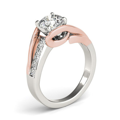 14k White And Rose Gold Bypass Shank Diamond Engagement Ring (1 1/8 Cttw) - 43684031