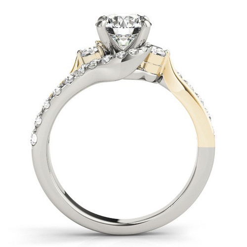 14k White And Yellow Gold Round Bypass Diamond Engagement Ring (1 1/2 Cttw) - 43683729
