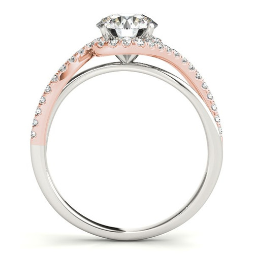 14k White And Rose Gold Bypass Band Diamond Engagement Ring (1 1/8 Cttw) - 43683804