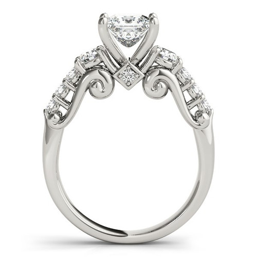 14k White Gold 3 Stone Antique Design Diamond Engagement Ring (1 3/4 Cttw) - 43683891