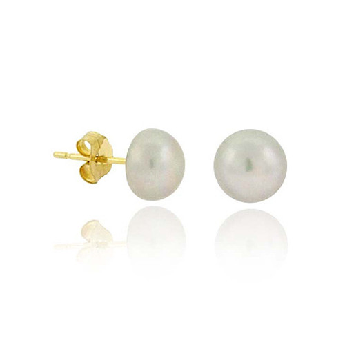 14k Gold Freshwater Cultured Gray 6-6.5mm Pearl Stud Earrings