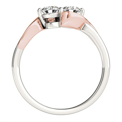 14k White And Rose Gold Round Two Diamond Curved Band Ring (5/8 Cttw)