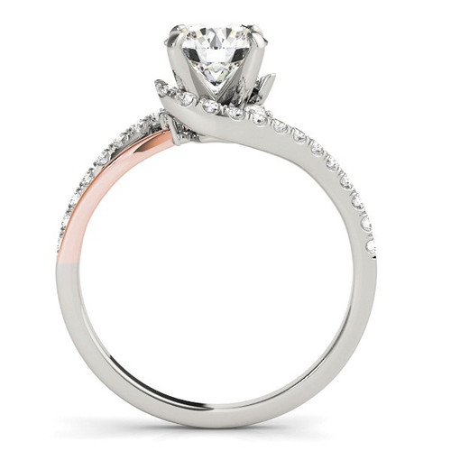 14k White And Rose Gold Bypass Shank Diamond Engagement Ring (1 1/3 Cttw) - 43684371