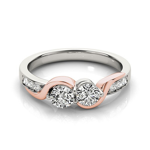14k White And Rose Gold Round Two Diamond Curved Band Ring (5/8 Cttw) - 43684403