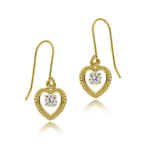 14k Gold Cz Heart Dangle Earrings
