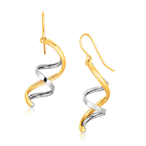 14k Two Tone Gold Double Helix Polished Dangling Earrings