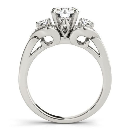 14k White Gold 3 Stone Diamond Engagement Antique Style Ring (1 3/8 Cttw) - 43686056