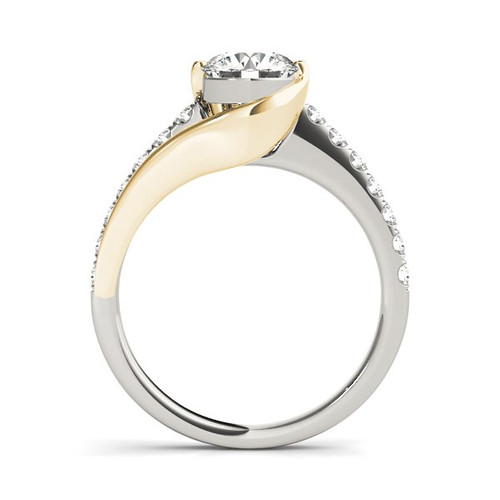 14k Two Tone Gold Split Shank Style Diamond Engagement Ring (1 1/4 Cttw) - 43686194