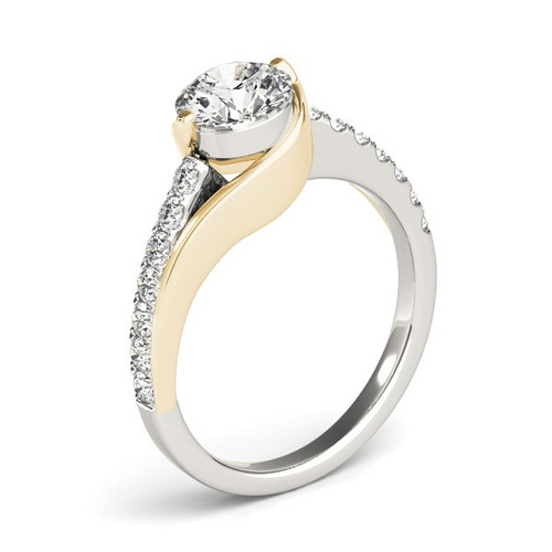 14k Two Tone Gold Split Shank Style Diamond Engagement Ring (1 1/4 Cttw) - 43686193