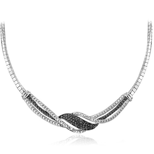 1/4 Ct Black & White Diamond Twist Frontal Necklace