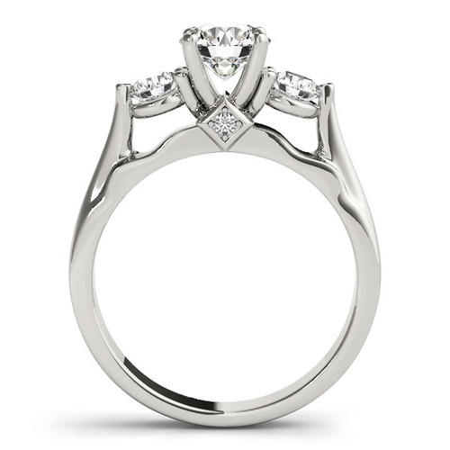 14k White Gold 3 Stone Prong Setting Diamond Engagement Ring (1 3/8 Cttw) - 43686452