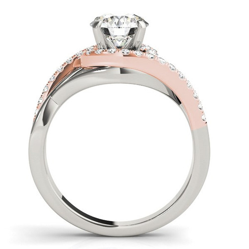 14k White And Rose Gold Bypass Diamond Engagement Ring (1 1/4 Cttw) - 43685634