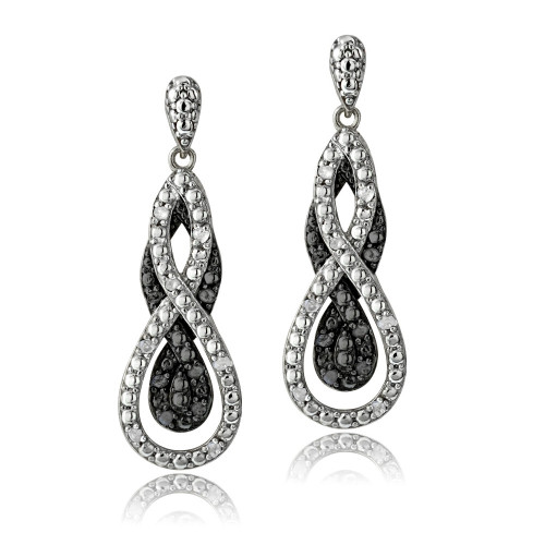 1/4 Ct Black & White Diamond Intertwining Infinity Dangle Earrings