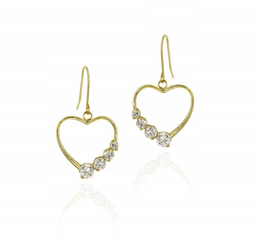 10k Gold Cz Open Heart Journey Earrings