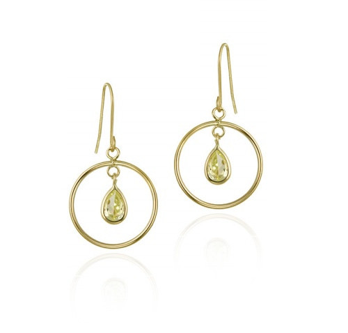 10k Gold Light Green Teardrop Cz & Open Circle Dangle Earrings