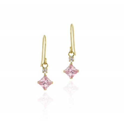 10k Gold Diamond Shape Pink & Clear Cz Dangle Earrings