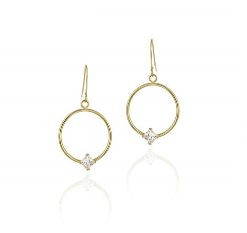 10k Gold Circle Dangle Earrings With Cz Square Stud