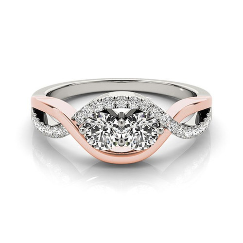 14k White And Rose Gold Infinity Style Two Stone Diamond Ring (5/8 Cttw) - 43682149