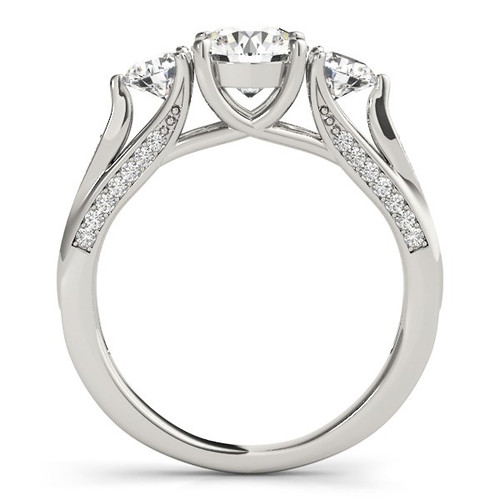 14k White Gold 3 Stone Style Round Diamond Engagement Ring (1 3/4 Cttw) - 43682422