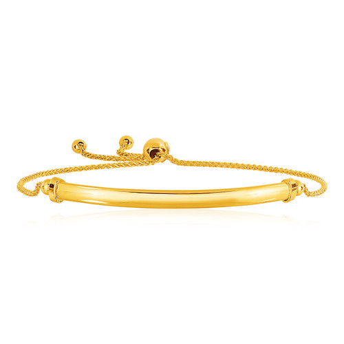 14k Yellow Gold Smooth Curved Bar And Lariat Style Bracelet