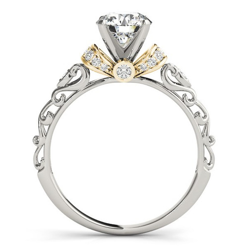 14k White And Yellow Gold Antique Style Diamond Engagement Ring (1 1/8 Cttw) - 43682899