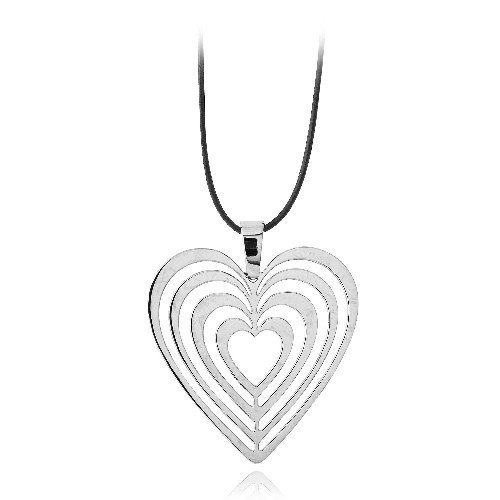 Stainless Steel Ripple Heart Necklace