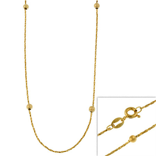 "14k Gold Filled Italian Twisted Mirror Box Chain Necklace W/ Ribbed Beads 16"" 18"" 20"" 24"" - 29782982"
