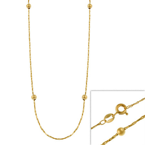 """14k Gold Filled Italian Twisted Mirror Box Beaded Chain Necklace 16"""" 18"""" 20"""" 24"""" - 29782978"""