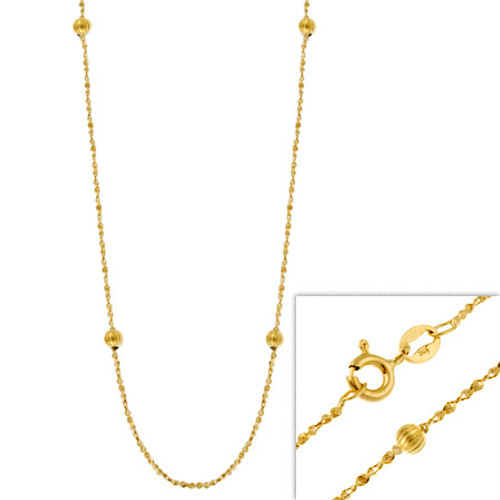 """14k Gold Filled Italian Twisted Serpentine Chain Necklace W/ Ribbed Beads 16"""" 18"""" 20"""" 24"""""""