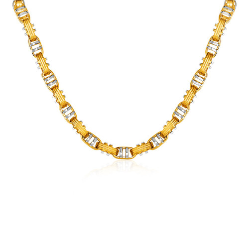 Two-bar Mariner Link Necklace In 14k Two-tone Gold