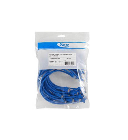 25 Pk Patch Cord,cat 6,molded,7ft Blue