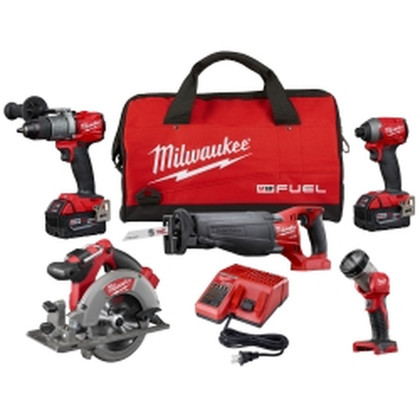 M18 Fuel 5-pc Combo Sawzall/ Circular Saw/ Hammer Drill/ Hex Impact/ Light W/ 2 Xc Battery Kit