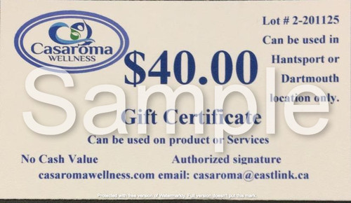 Casaroma Gift Certificate $40.00