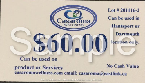 Casaroma Gift Certificate $60.00