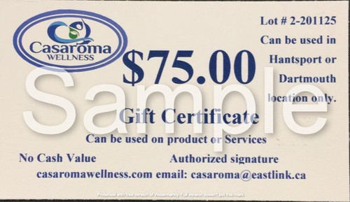 Casaroma Gift Certificate $75.00