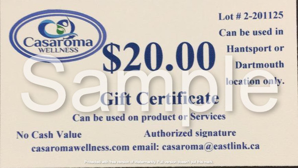 Casaroma Gift Certificate $20.00