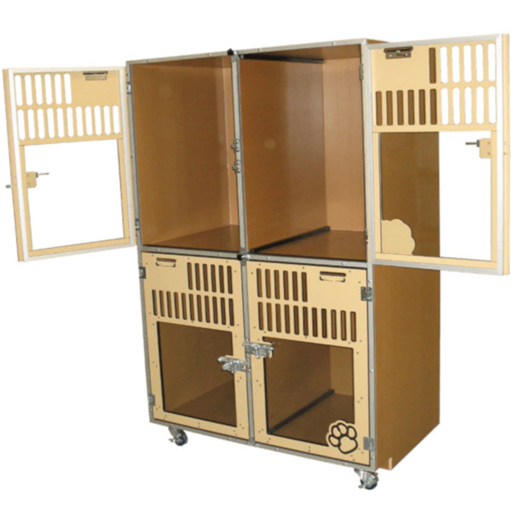 Double-Stacked dog kennels for boarding.