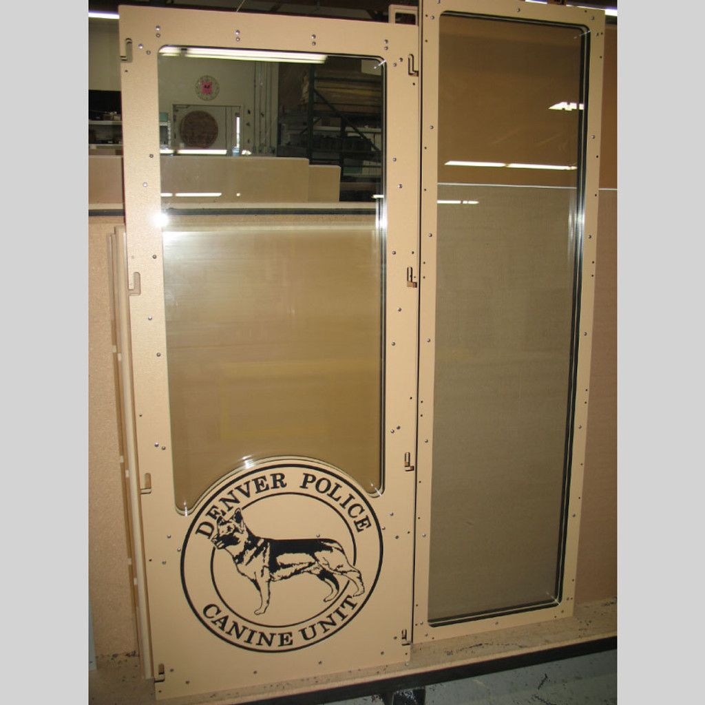 Denver K9 dog kennel gates with custom logo.