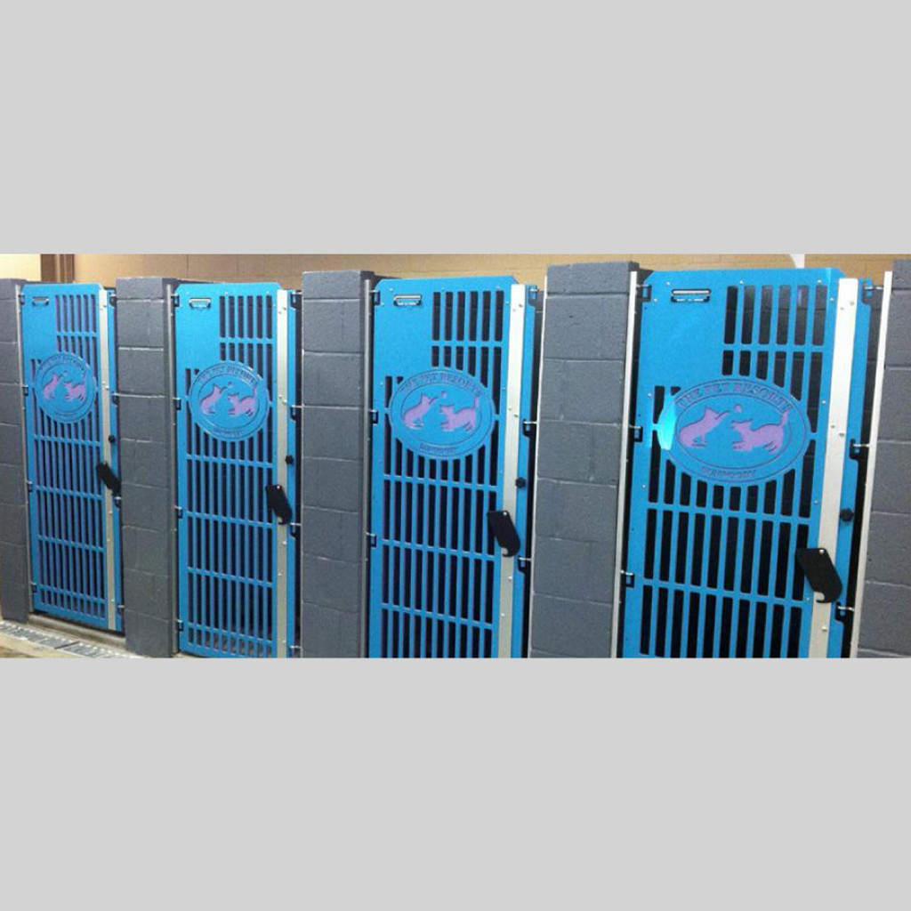 The Pet Resorts kennel gates in blue