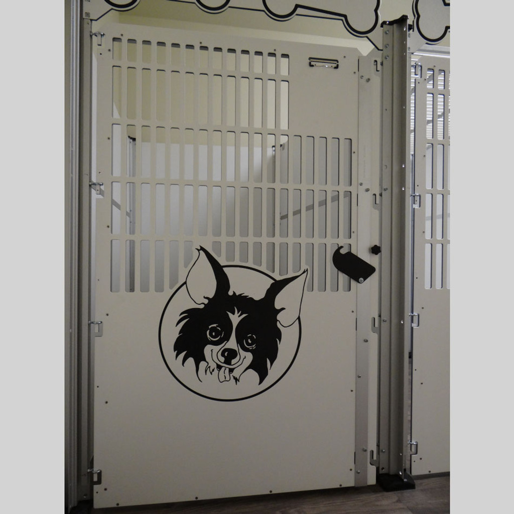 Dog kennel with logo/design.