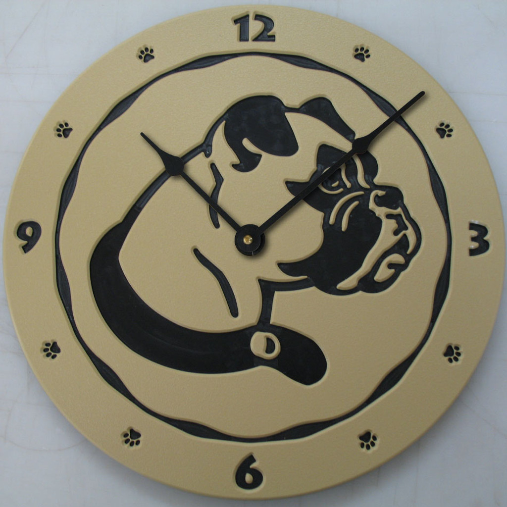 Boxer dog clock in tan.
