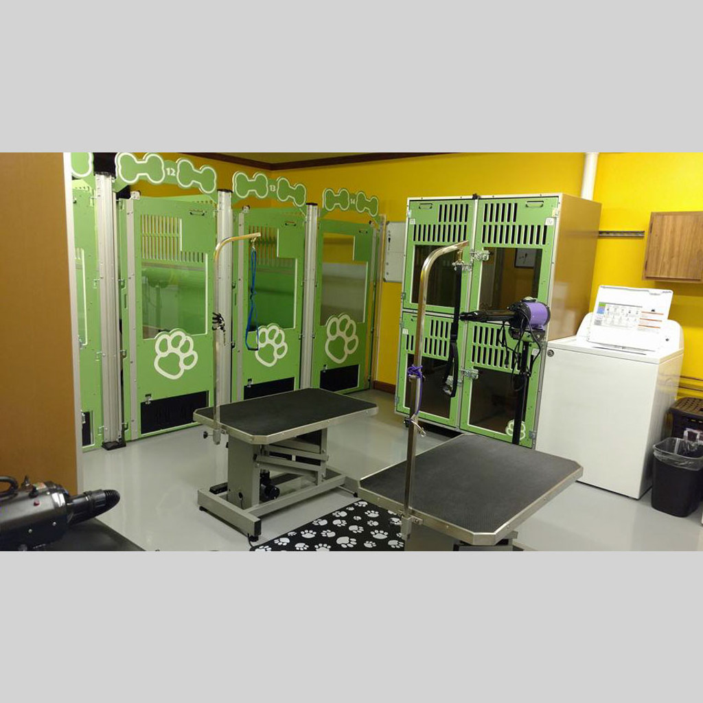 Paw Palace custom dog kennels paw print design in green.