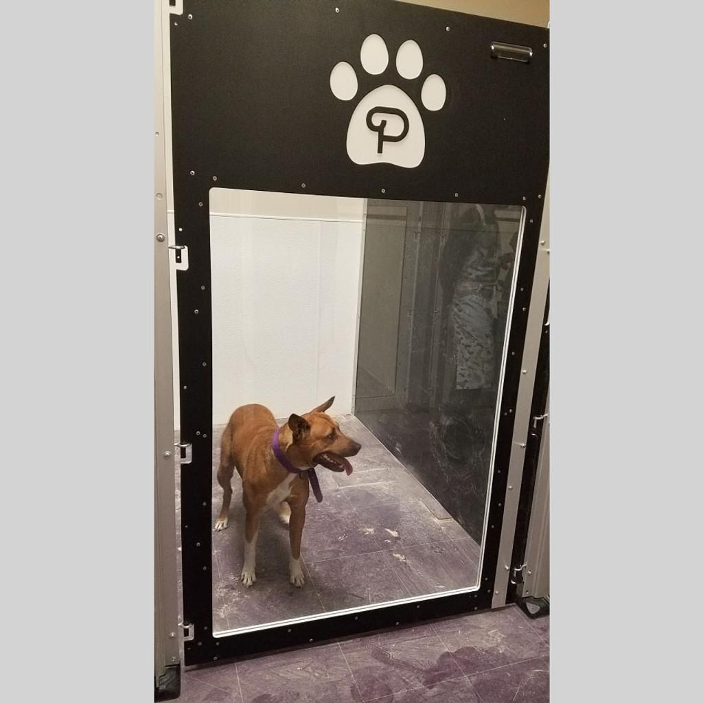 Poochville black custom dog kennels.