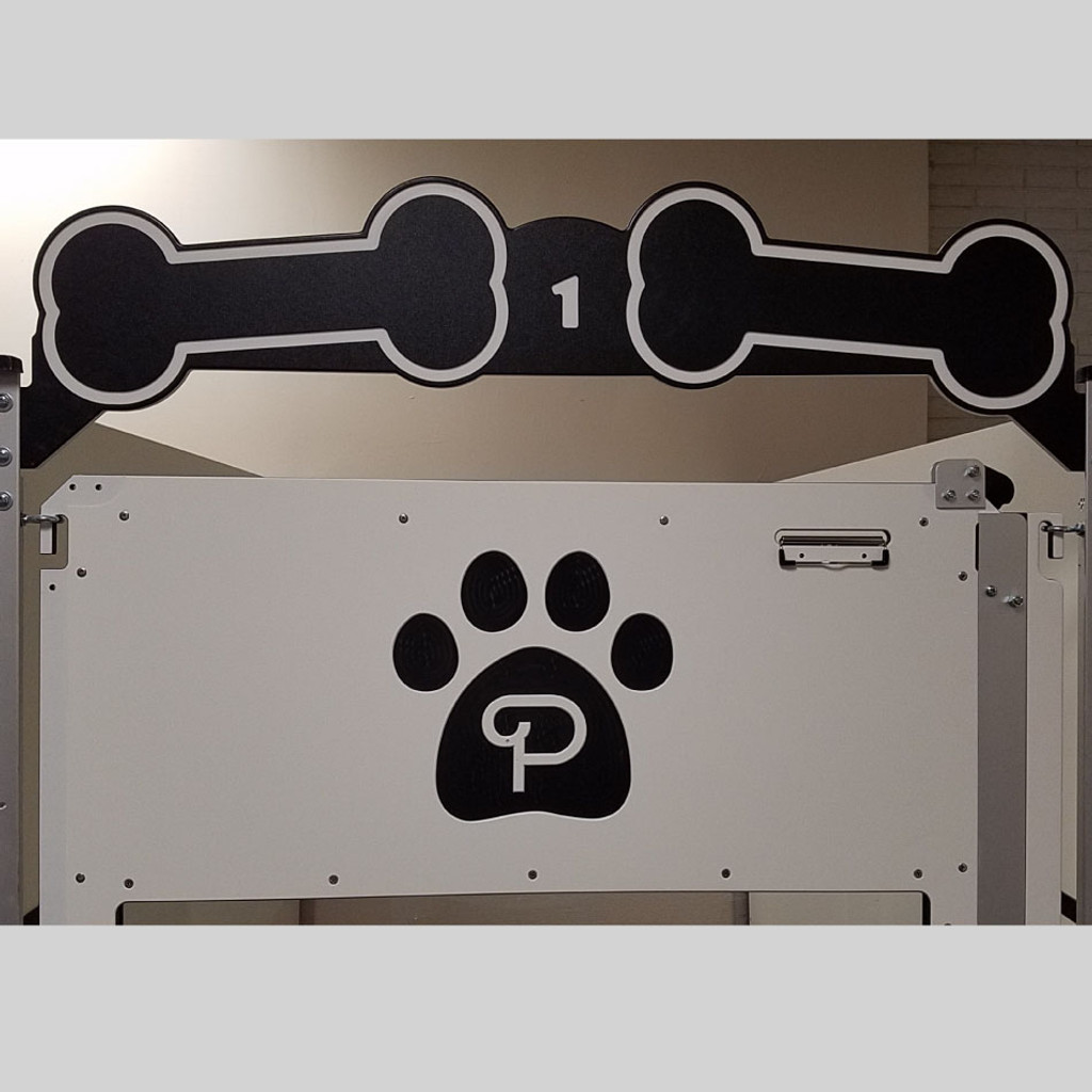 Poochville logo kennel gate and gate header.