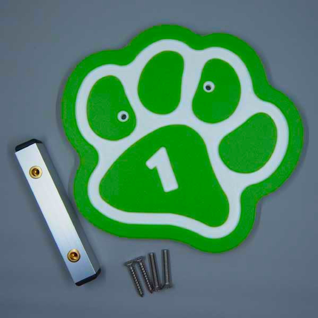 Lime Green paw kennel numbers / identifiers.